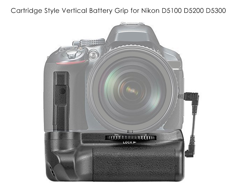 Veledge BG - 2G Cartridge Style Vertical Camera Battery Grip for Nikon D5300 / D5200 / D5100