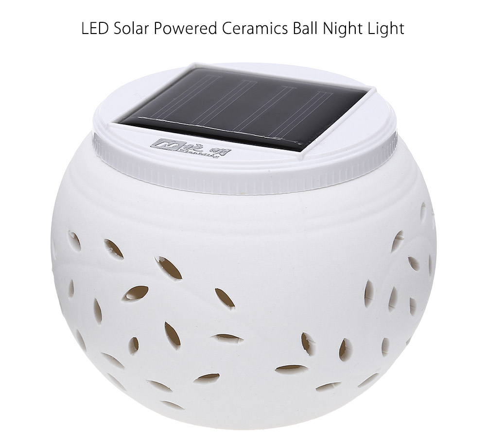 0.6W 40LM LED Solar Powered Ceramics Ball Night Light Color Changing Decorative Table Lamp