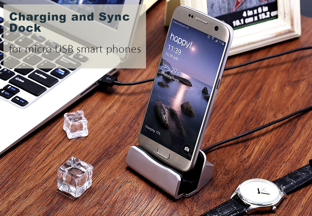 Aluminum Alloy Micro USB Desktop Charging Sync Stand for Android