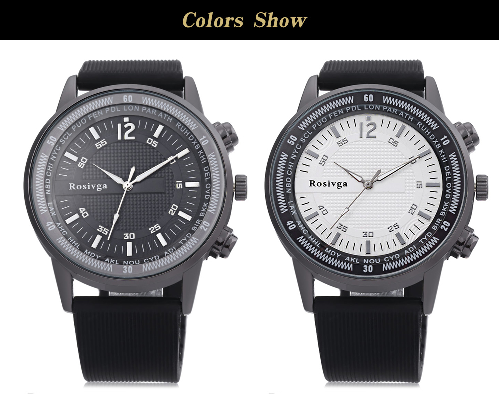 Rosivga 1357 Male Quartz Watch Silicone Band Luminous Pointer Large Dial Wristwatch