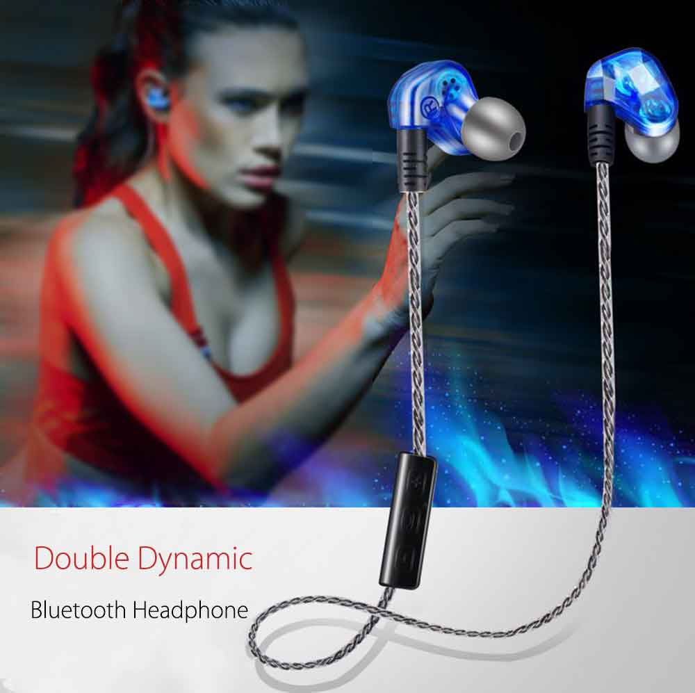 Moxpad X90 HiFi Wireless Bluetooth V4.1 Stereo Dual Driver Earphone Sport Running Earbud Studio Music Headset