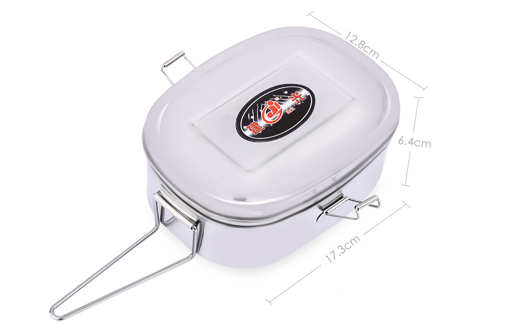 Jianguang Double Layer Stainless Steel Food Container Ellipse Lunch Box