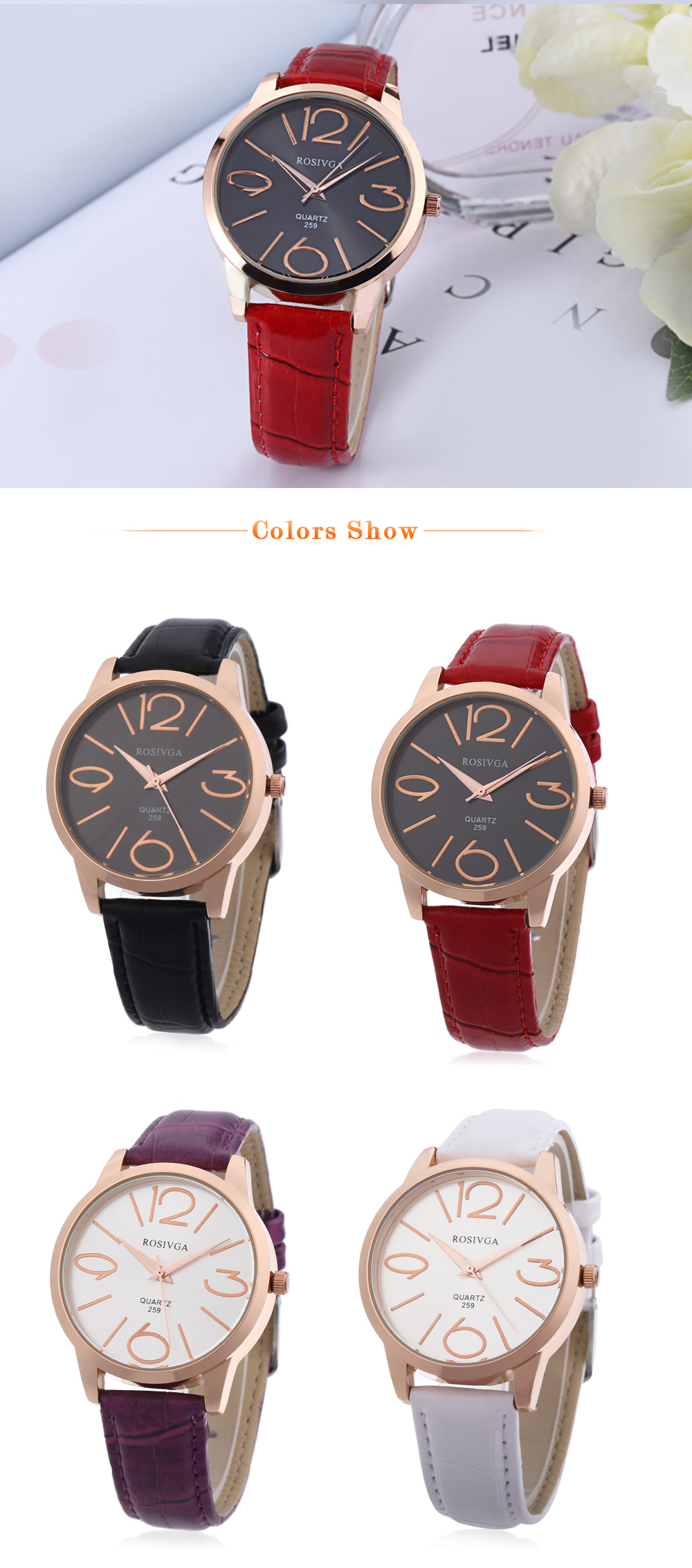 Rosivga 259 Women Quartz Watch Leather Band Water Resistance Wristwatch