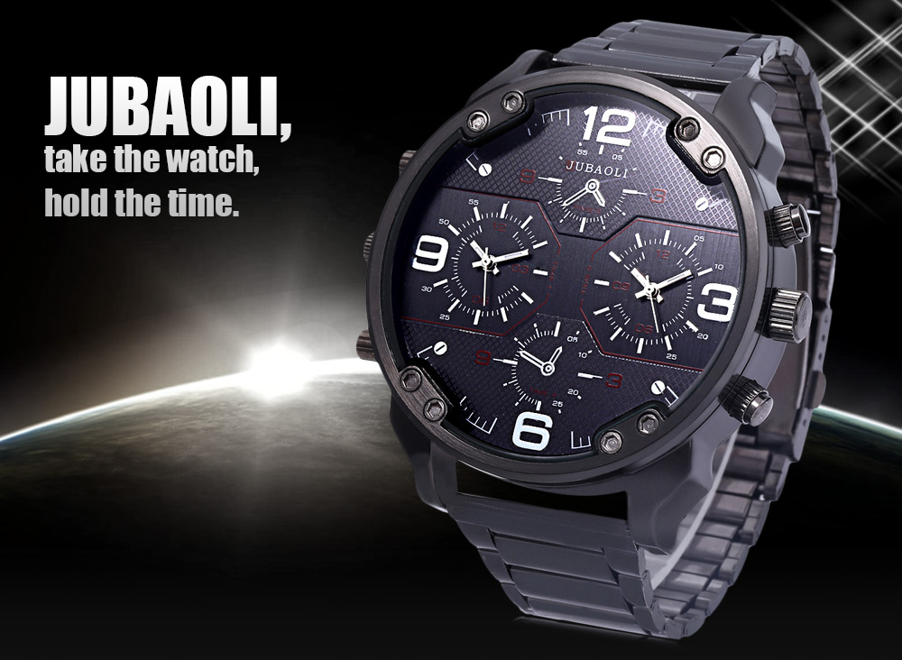 JUBAOLI Men Dual Movt Quartz Watch Decorative Working Sub-dial Stainless Steel Band Wristwatch