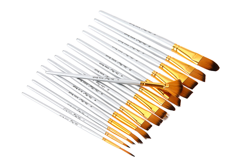 ZhuTing 15pcs Nylon Hair Painting Brush Artist Watercolor Acrylic Oil Painting Drawing Tools