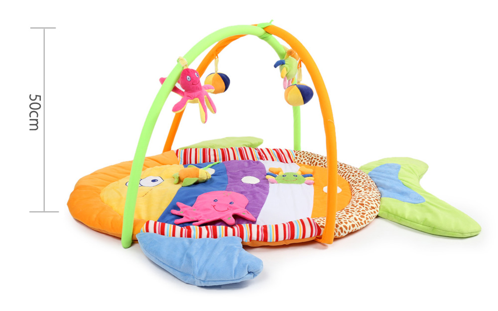 Baby Soft Play Mat Colorful Fish Gym Blanket with Frame