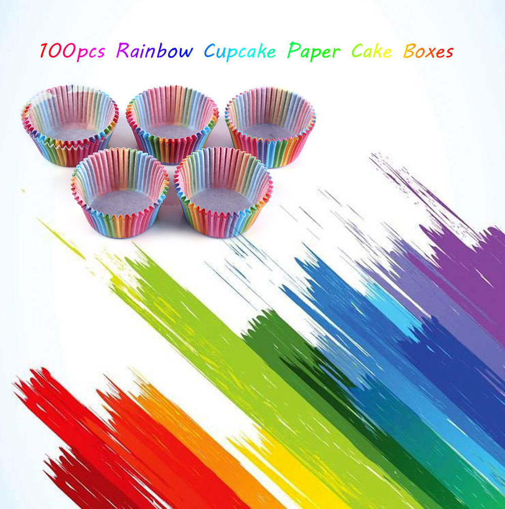 100pcs Colorful Rainbow Paper Cupcake Baking Muffin Cake Boxes