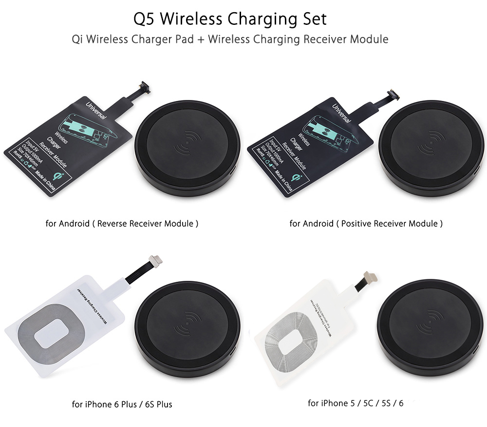 Qi Wireless Charger Phone Mount Pad + Charging Receiver for Android