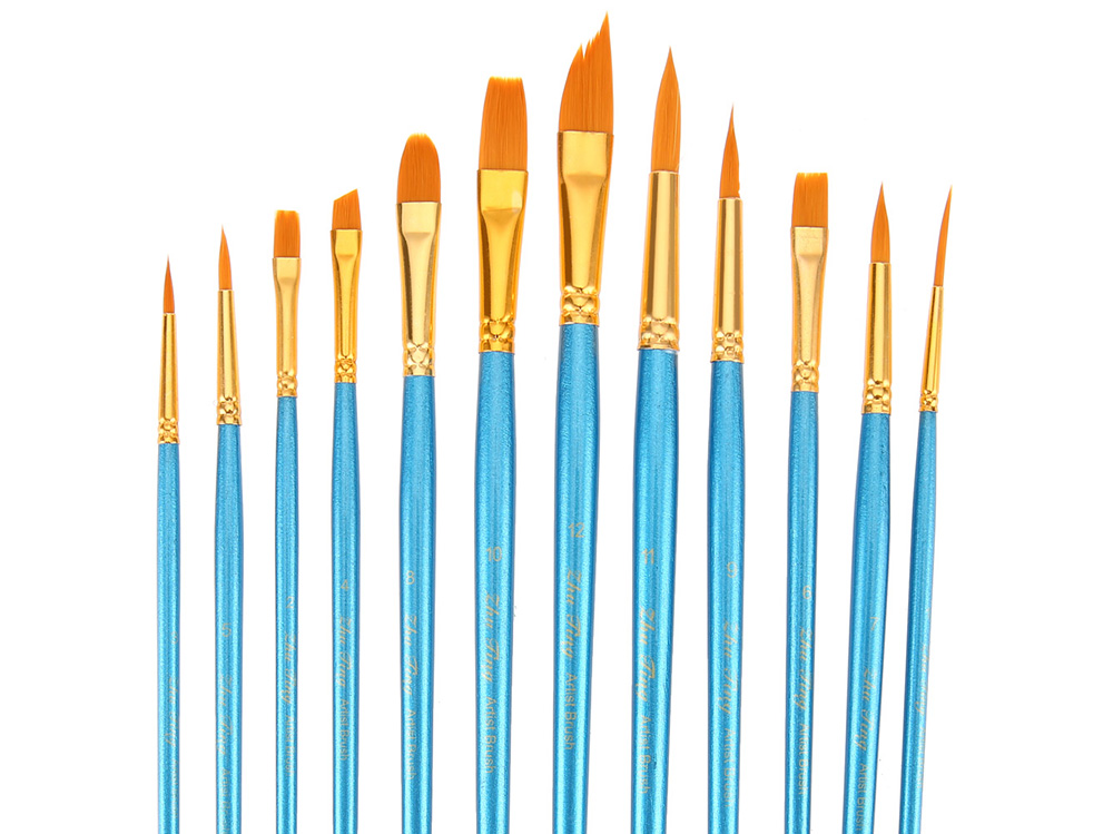 ZhuTing 12pcs Nylon Hair Paint Brush Artist Watercolor Acrylic Oil Painting with Palette