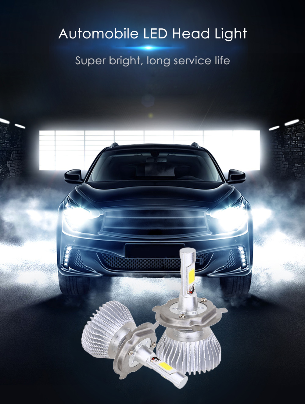 Paired C6 H4 60W LED Automobile Headlight Vibration Resistance