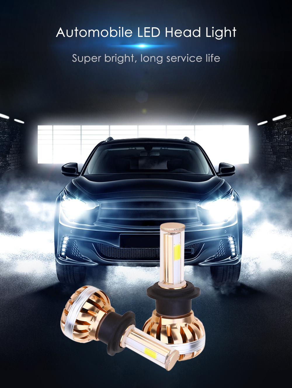 Paired C8 H7 60W LED Automobile Headlight Vibration Resistance