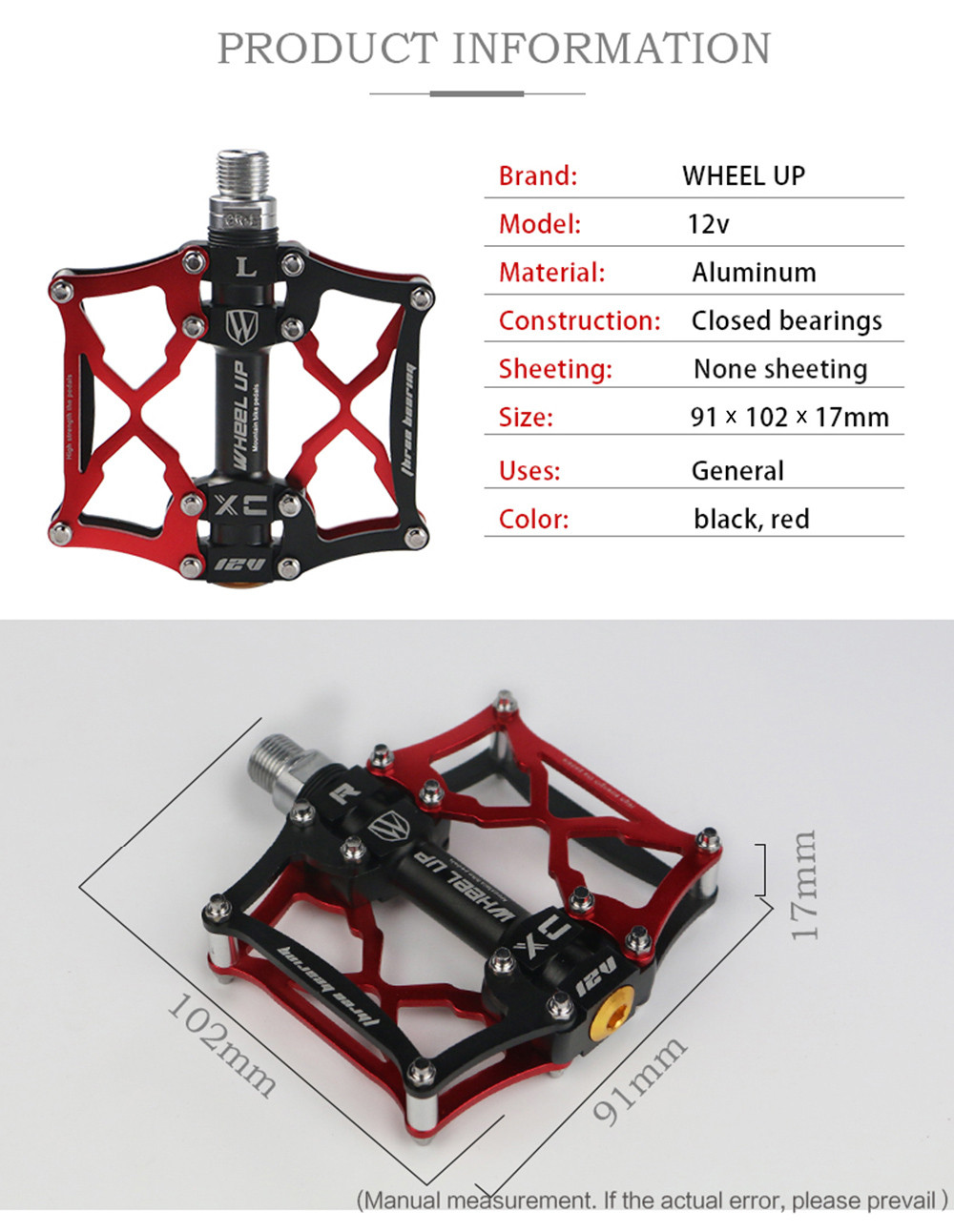 Wheel Up Paired Mountain Bike Road Cycling Sealed Bearing Pedals BMX Ultra-Light Bicycle Equipment