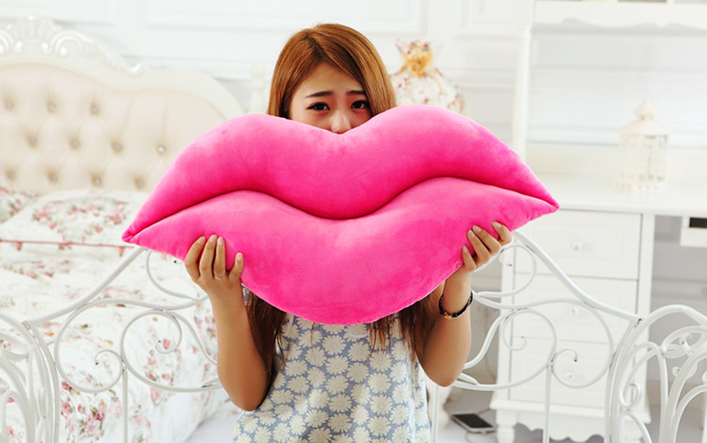 Soft Sexy Red Lips Shape Plush Toy Novelty Pillow
