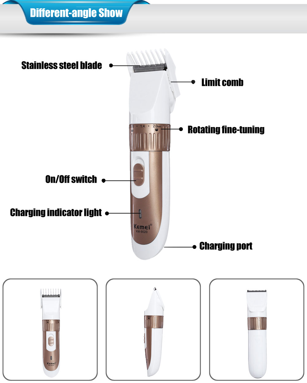 KEMEI - 9020 Electric Hair Clipper Trimmer Rechargeable Cutter with Comb for Men