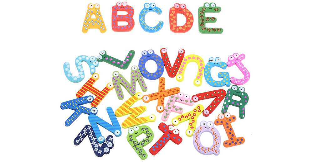 26pcs Colorful Wooden Letter Refrigerator Magnet Kids Educational Toy