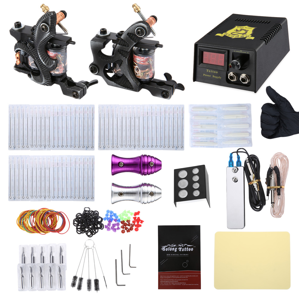 Solong Tattoo 2 Machine Gun Shader Liner Kit Power Supply 20 Needles Grip Tip