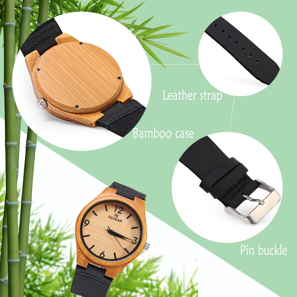 REDEAR SJ 1448 - 8 Wooden Female Quartz Watch Leather Strap Luminous Pointer Wristwatch