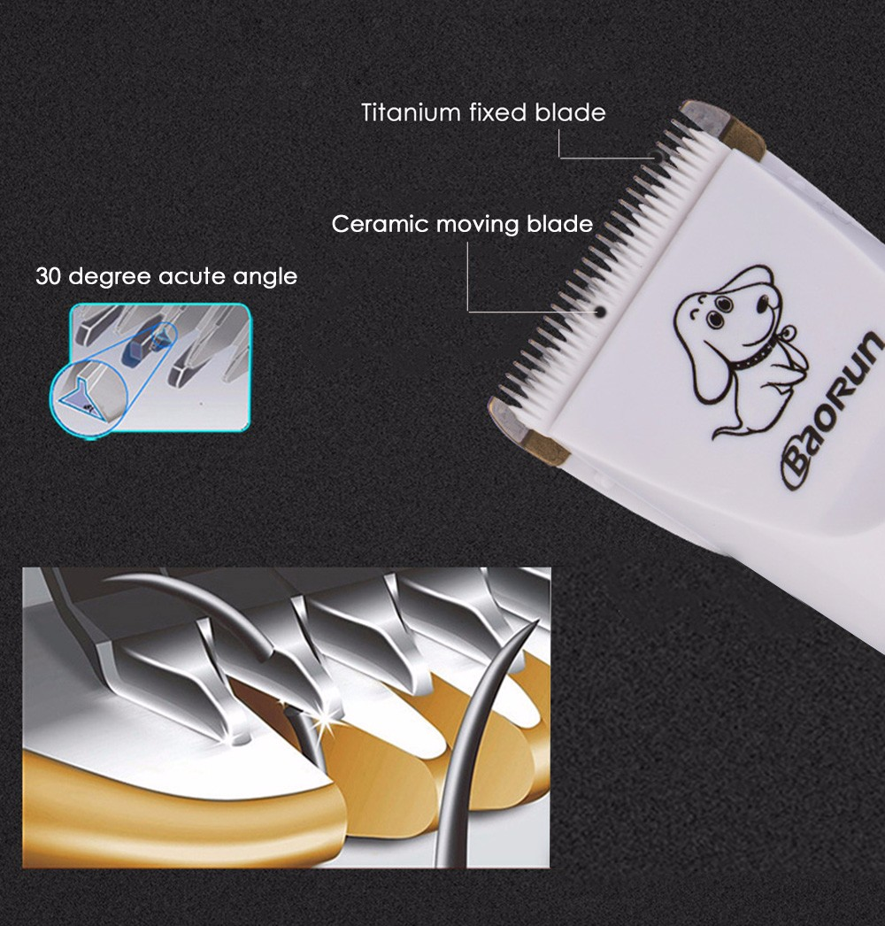 BaoRun P3 Professional Rechargeable Pet Electric Hair Clipper Cutter with Grooming Kit