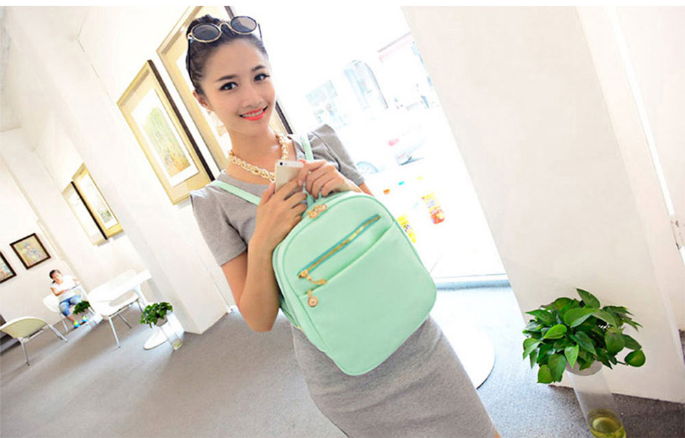 Guapabien Ladder Lock Button Shape Zipper Head Solid Color Portable Bag Backpack for Lady