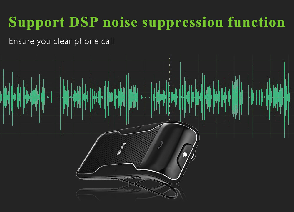Wireless Hands free Vehicle Mounted Bluetooth Speakerphone Kit Sun Visor with Car Charger