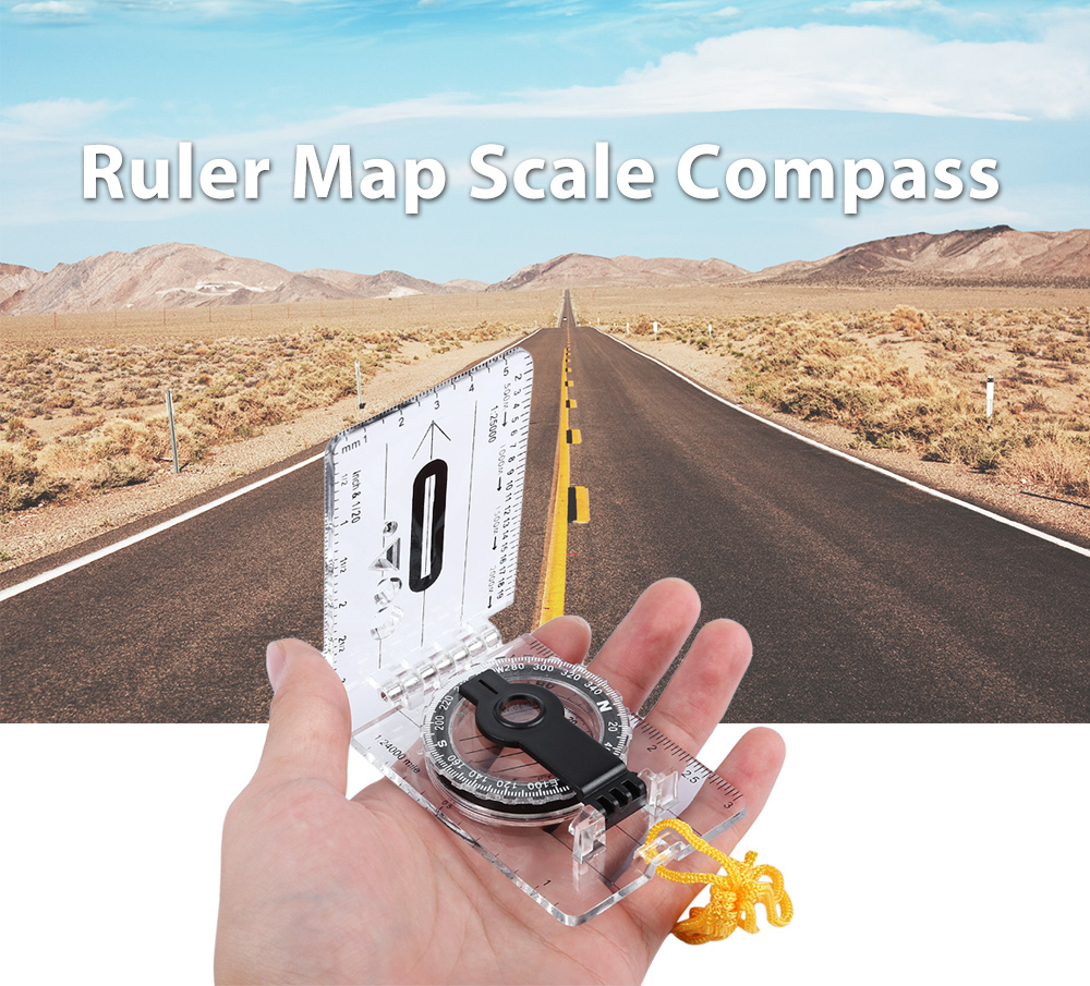 Handheld Map Scale Compass for Camping Navigation Hiking Walking