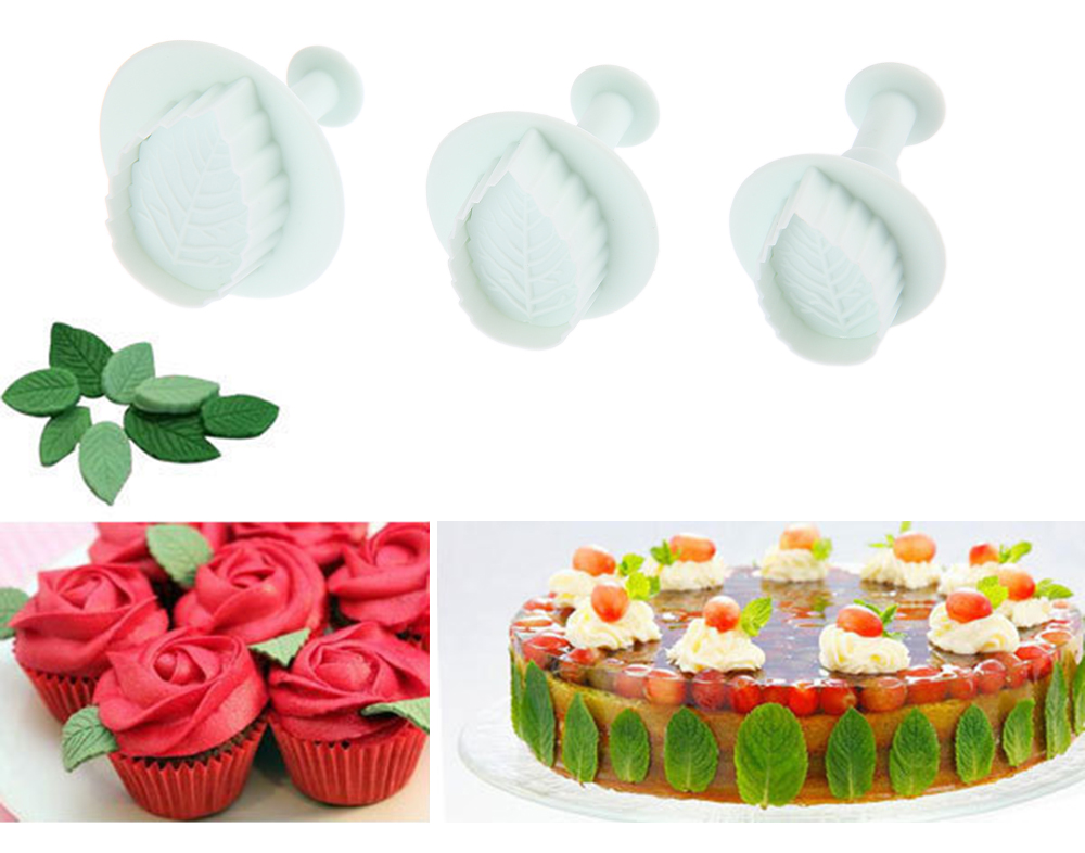 3pcs Plastic Rose Leaf Plunger Fondant Cake Mold Cookie Cutter
