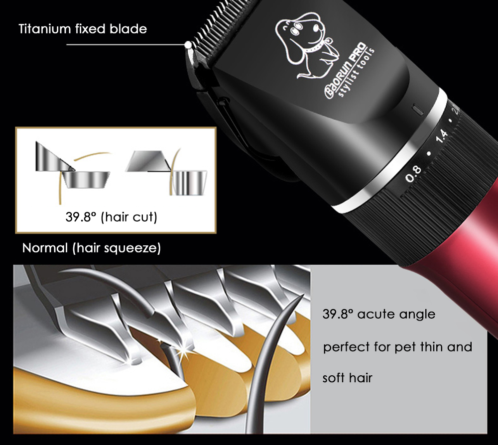 BaoRun P6 Professional Rechargeable Pet Electric Hair Clipper Cutter with Grooming Kit