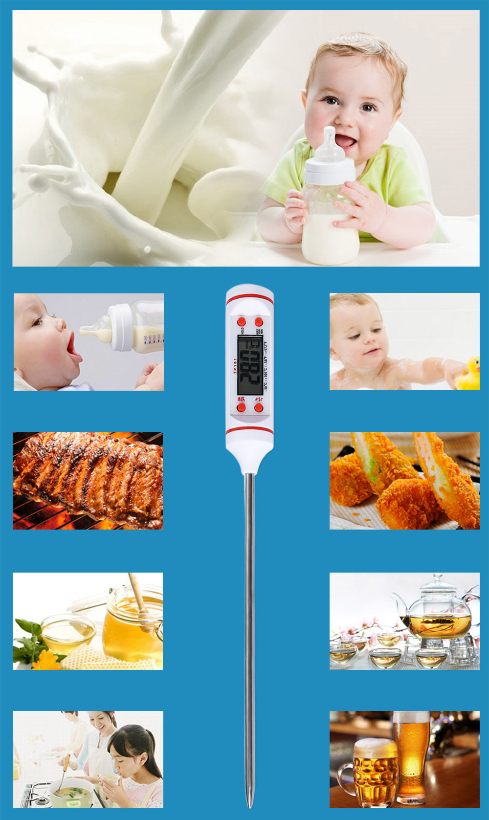 Pen-shape Embedded Digital Thermometer Kitchen Food Baking Barbecue Oil Monitoring Display Instant Read