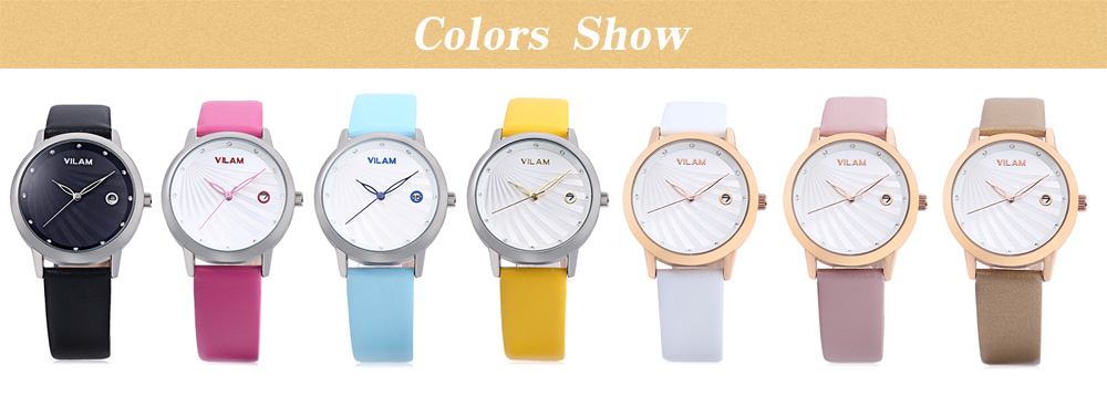 VILAM V1036L - 01A Women Quartz Watch Artificial Diamond Dial 3ATM Leather Band Wristwatch