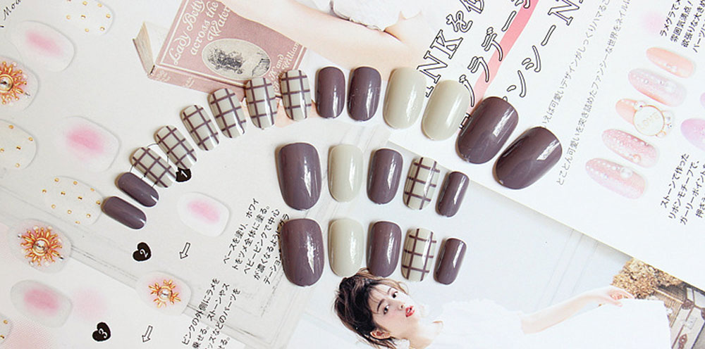 Taro Stripes Fingernails Wrapping Small Short Manicure Patch Nail Sticker