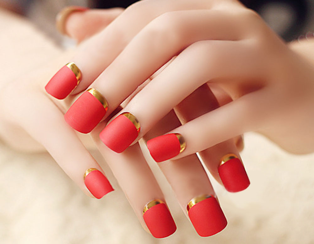 Europe Style Matte Red Fingernails Wrapping Small Short Manicure Patch Nail Sticker