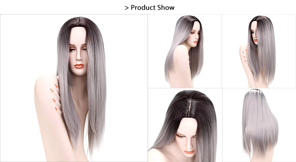 66CM Gradient Grey Ombre Long Straight False Hair Synthetic Full Wigs for Black Women