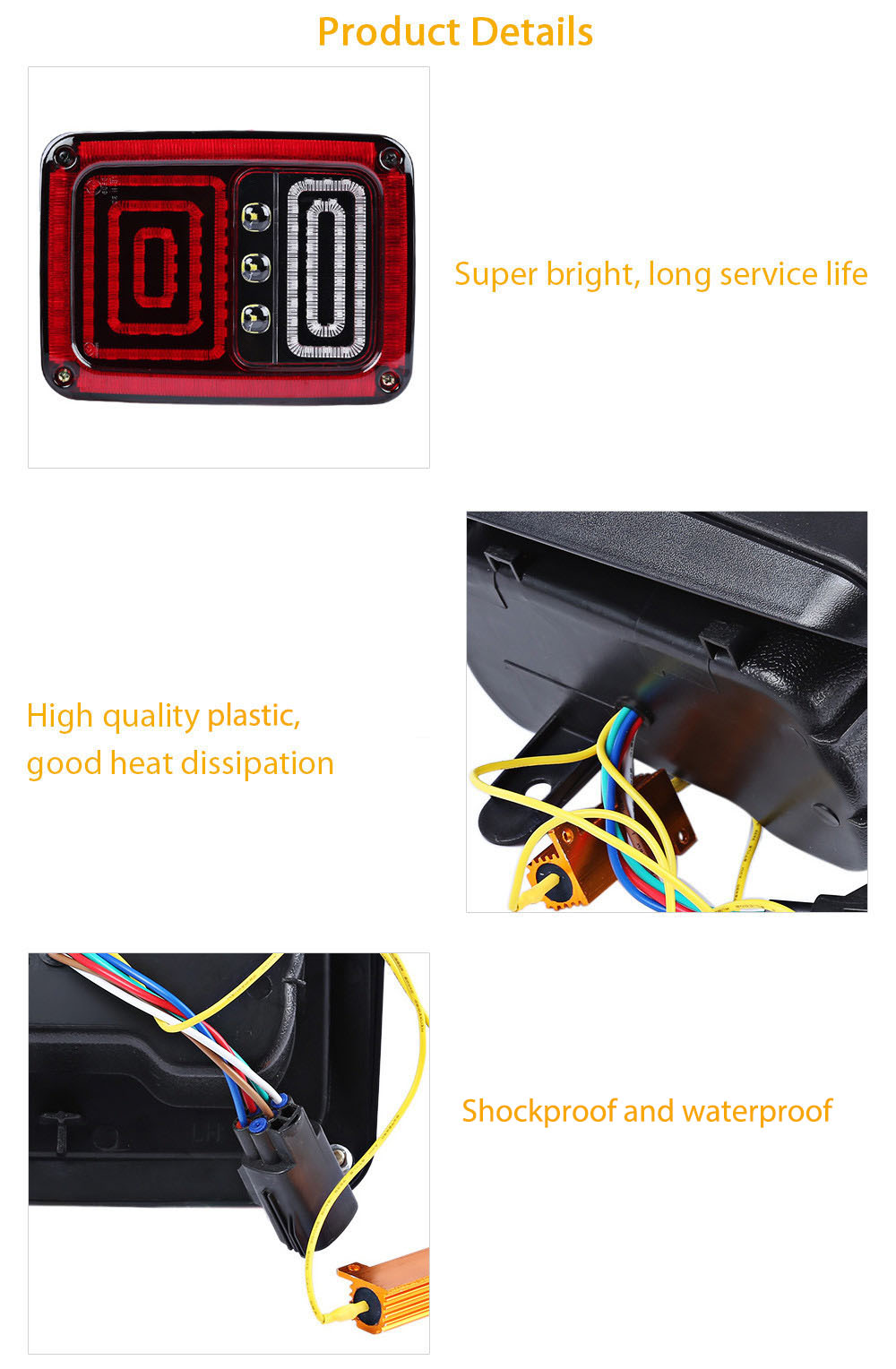 2pcs OL - JT02 Car LED Rear Break Tail Light for Jeep Wrangler