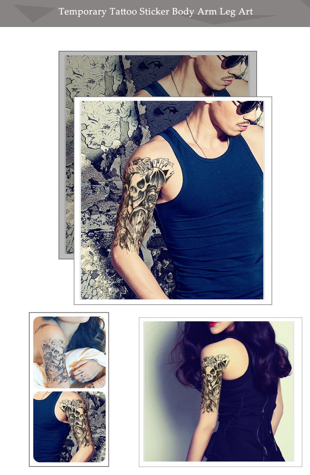 Skull Clock Rose Waterproof Removable Temporary Tattoo Sticker Body Leg Arm Art