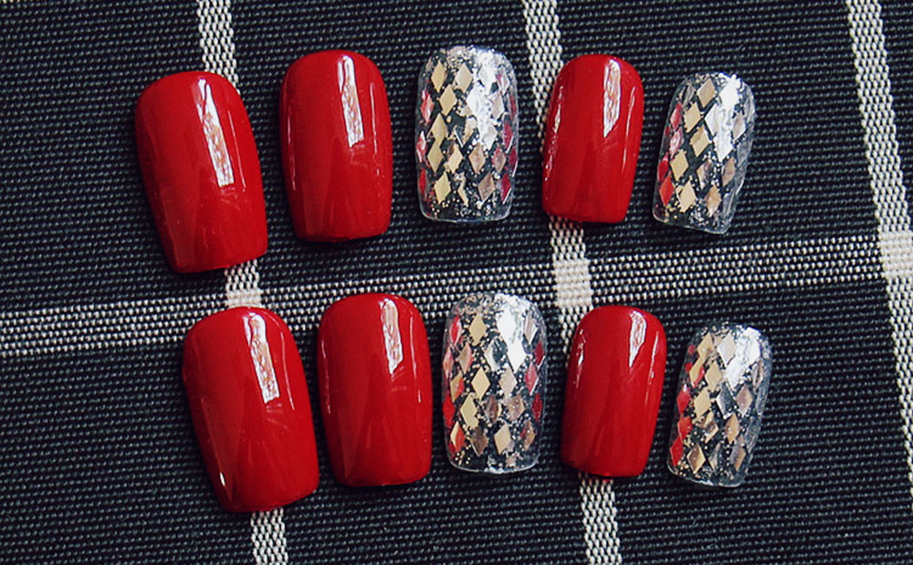 Bright Red Fingernails Wrapping Small Short Manicure Patch Nail Sticker