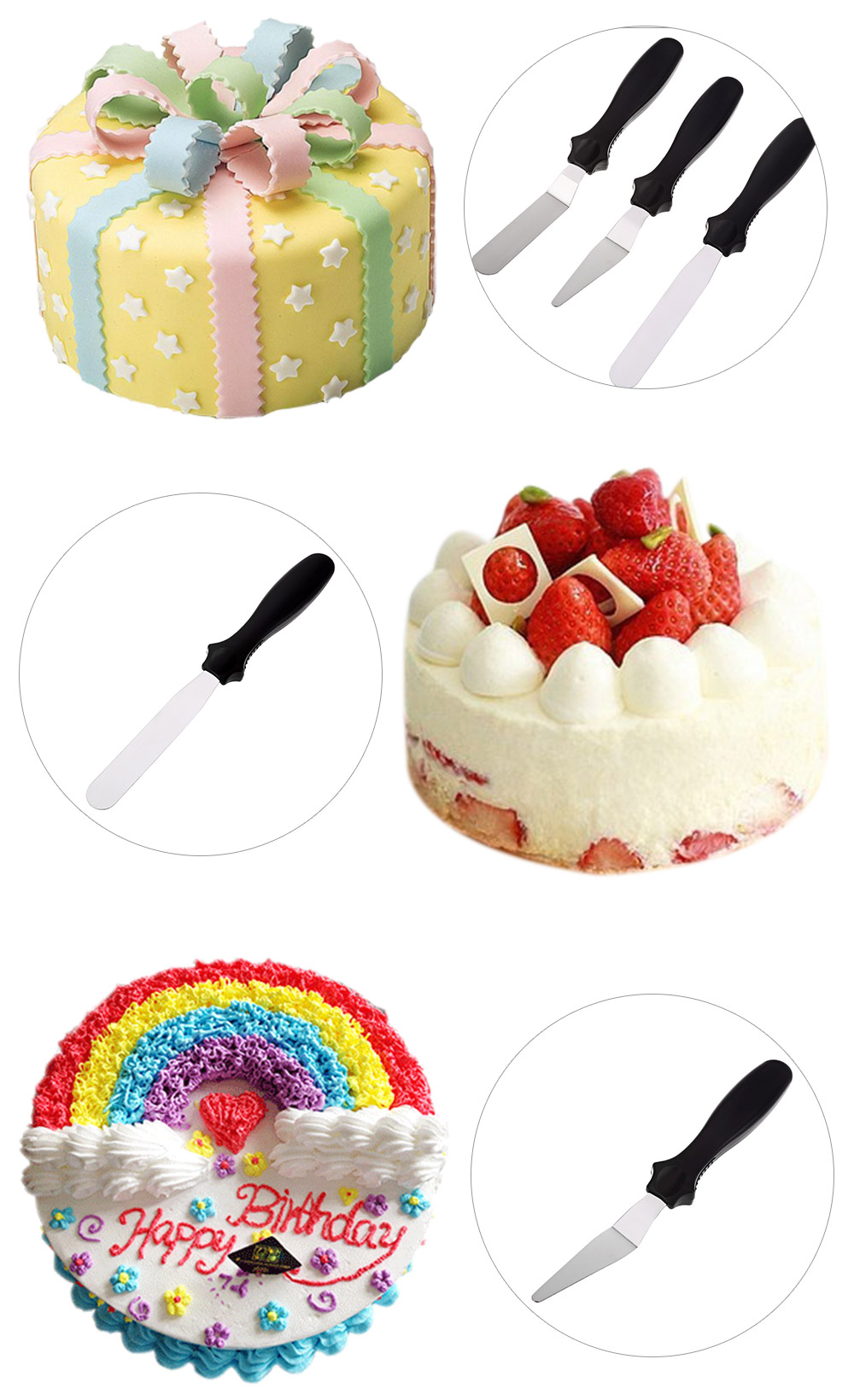3pcs Stainless Steel DIY Cake Cream Spread Decorating Smudge Tool