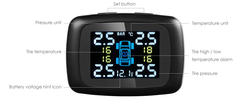 TP620 Car Wireless Tire Pressure Monitoring System LCD Display with Four External Sensor