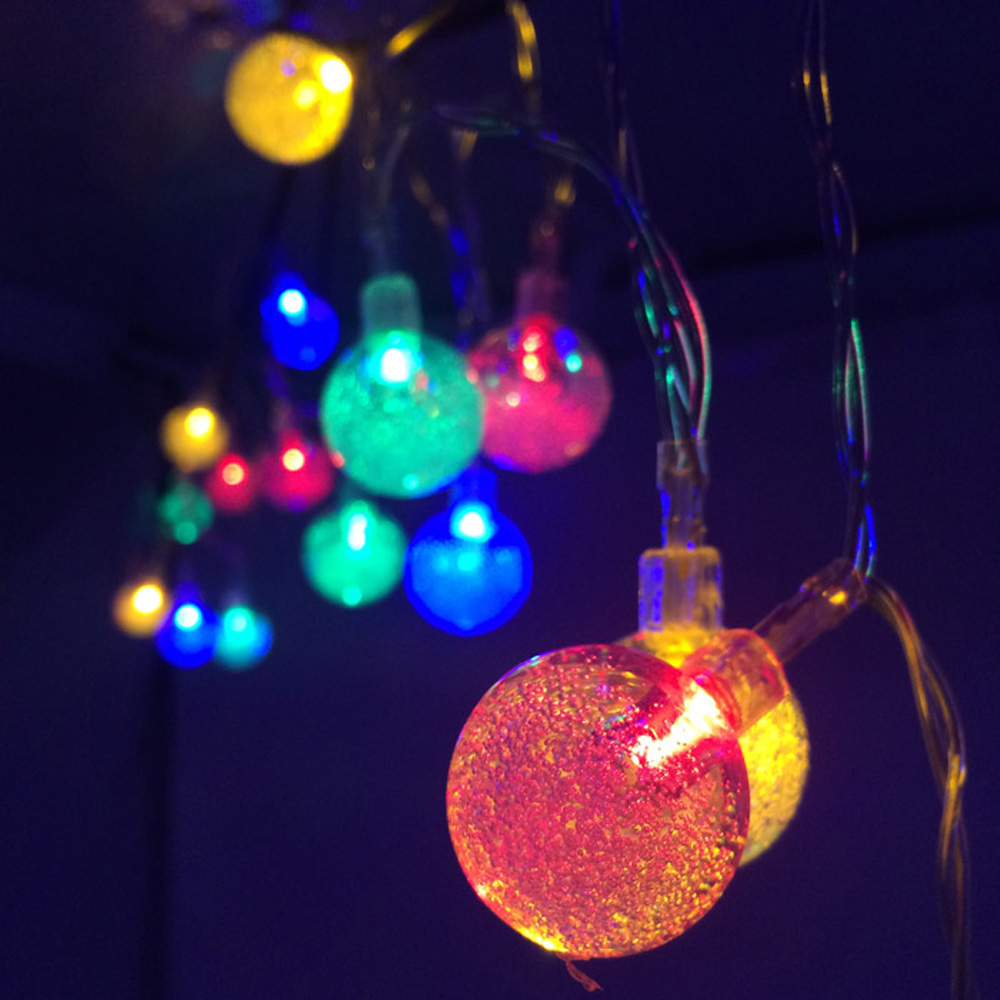 Bubble Shaped 8 Modes 30 LEDs Solar Powered String Light Waterproof Decorative Lamp