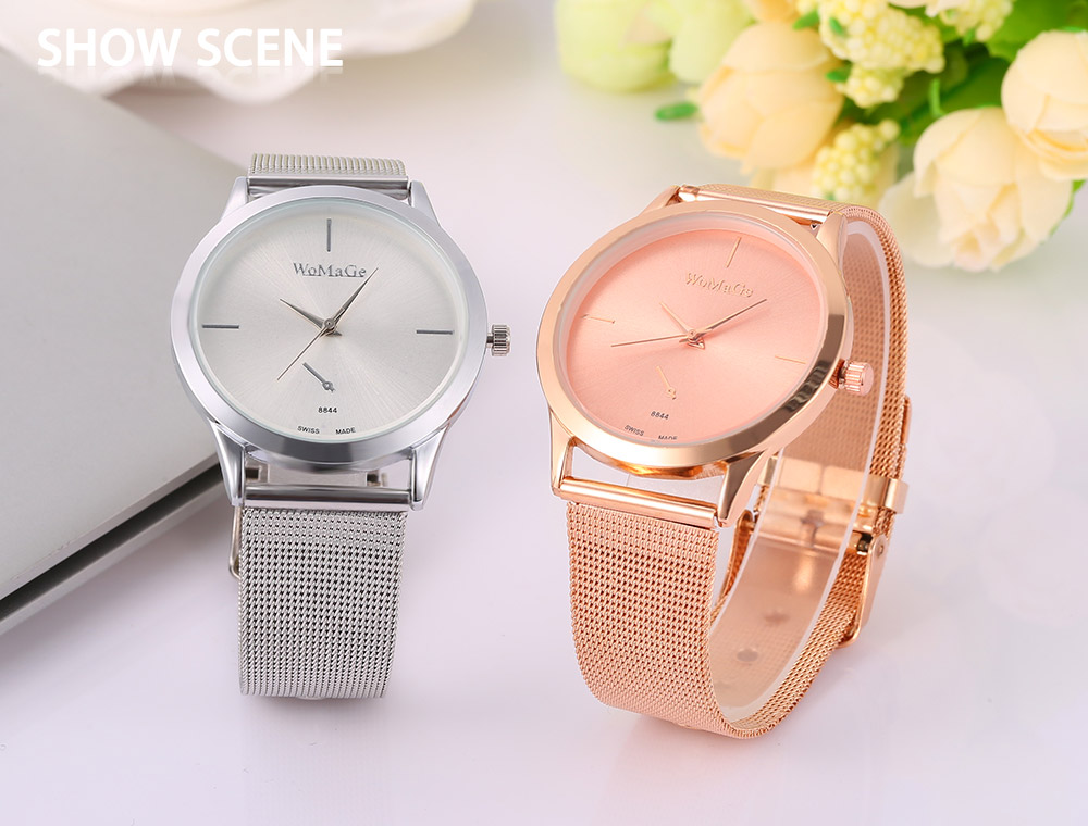 WoMaGe 8844 Female Quartz Watch Stainless Steel Net Band Decorative Sub-dial Wristwatch