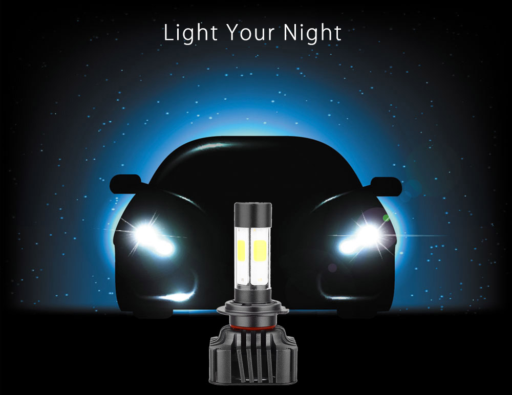 Paired V8 H7 40W Integrated LED Vehicle Headlight Automobile Vibration Resistance Heat Dissipation