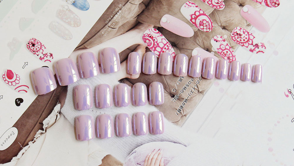 Bright Purple Fingernails Wrapping Small Short Manicure Patch Nail Sticker
