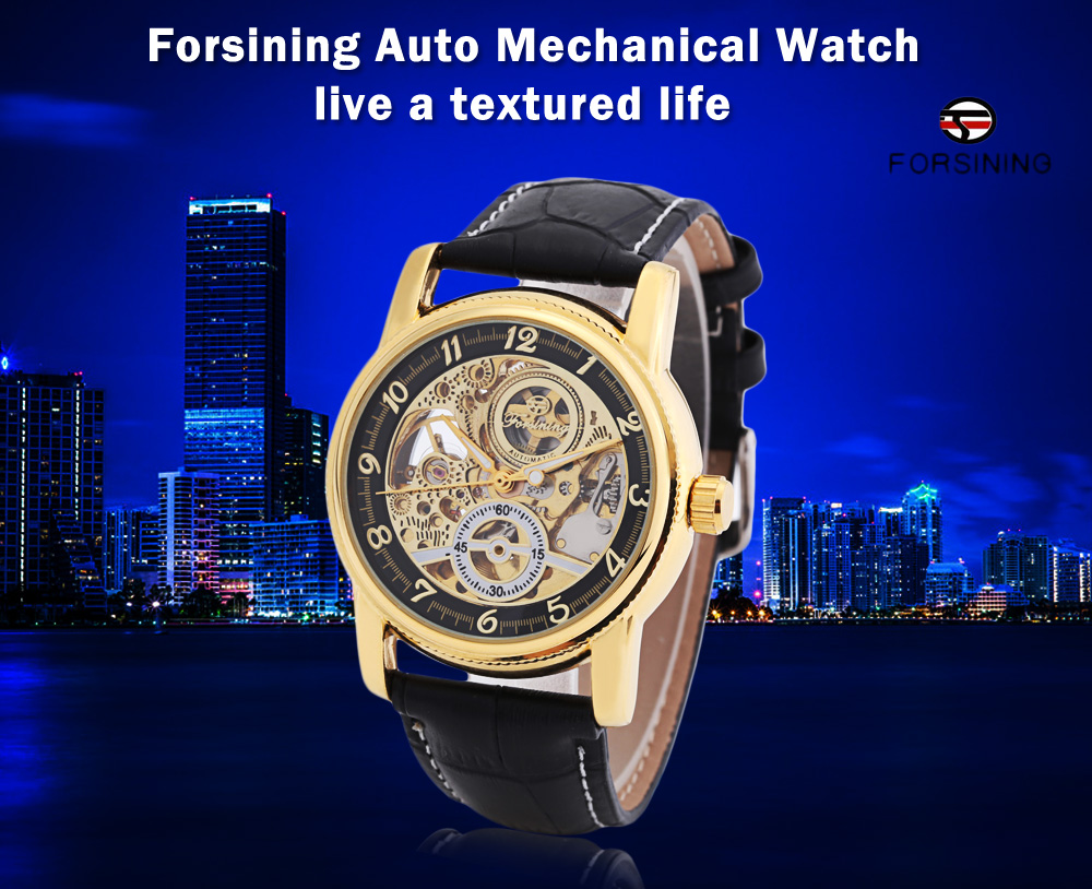 Forsining F042603 Men Auto Mechanical Watch Luminous Display Hollow-out Dial Wristwatch