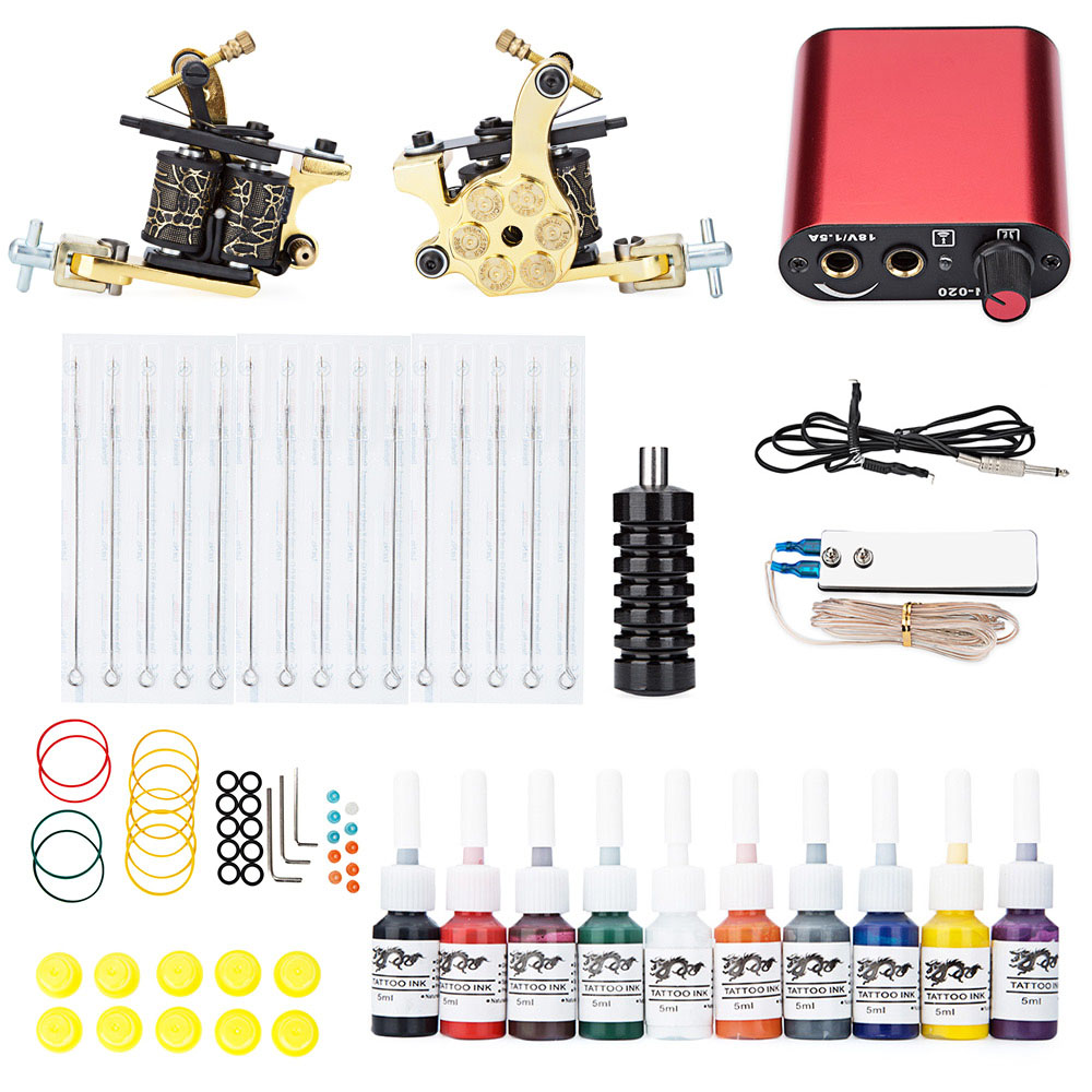 Complete Tattoo Kit Machine Shader Gun Power Supply 20 Color Inks Needle Equipment