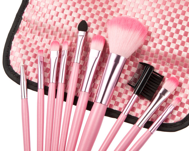 Portable Makeup Brushes Tool Set with Lattice Synthetic Fibers Storage Bag
