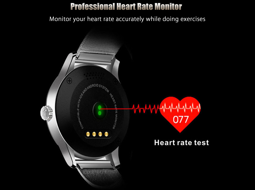 K88H MTK2502 Bluetooth 4.0 Smart Watch Heart Rate Track Sleep Monitor Wristwatch