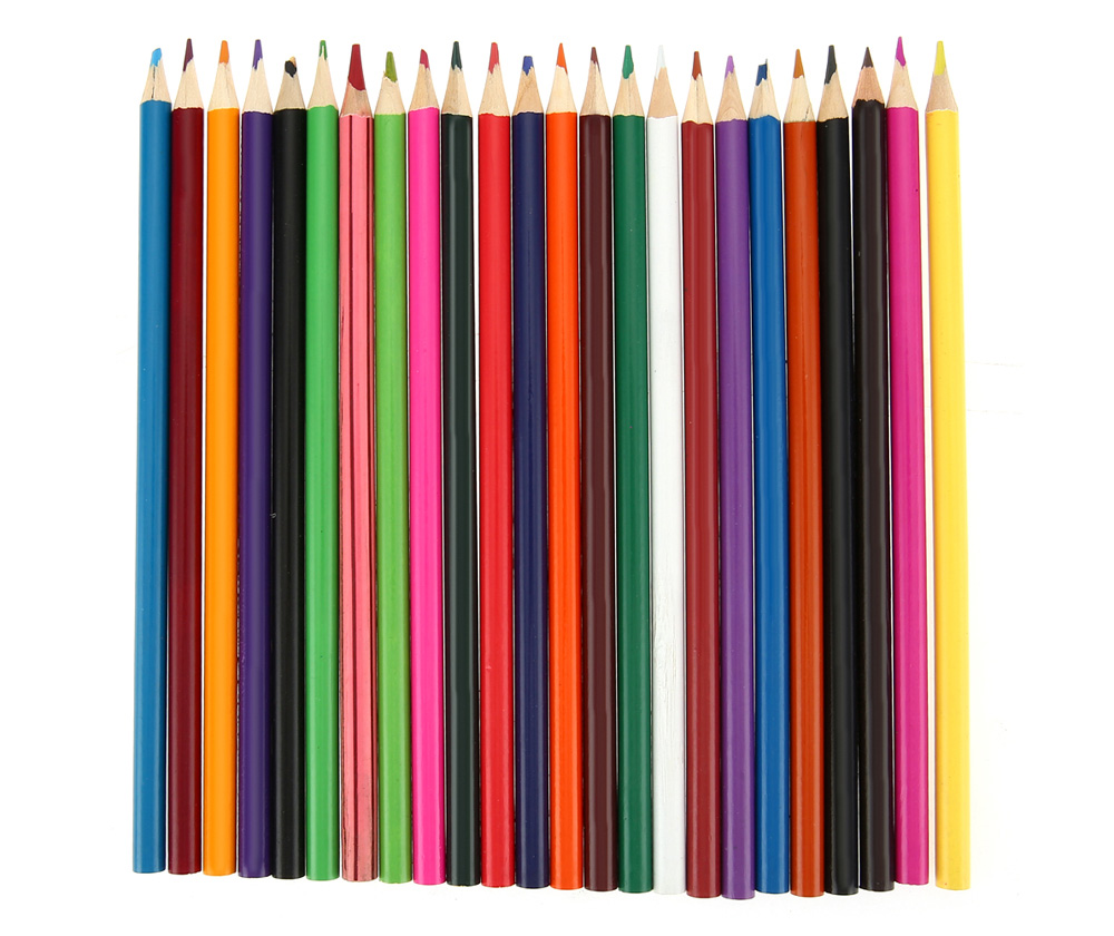 Zibom 24 Colored Wooden Pencil Kit Drawing Pen for Artist Sketch