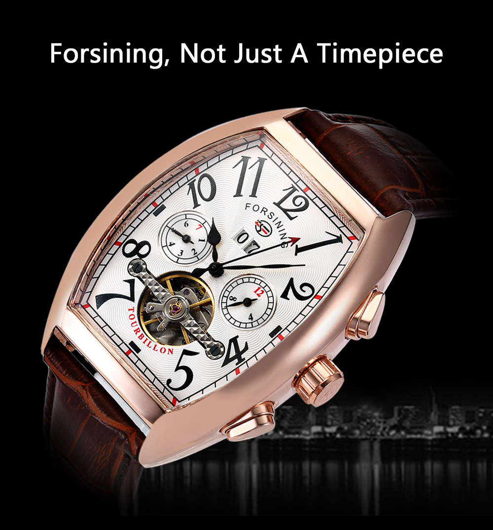 Forsining F201672801 Male Auto Mechanical Watch Tourbillon Date Day Month Display Wristwatch