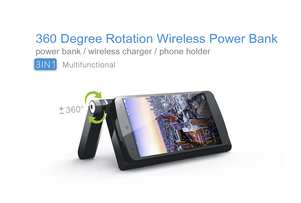 3 in 1 Qi Wireless Charger 5000mAh Power Bank 360 Degree Rotation Stand Holder