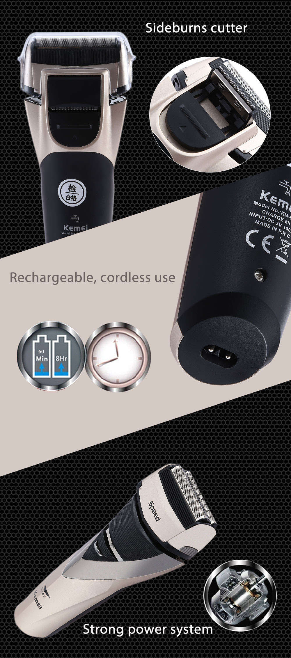 Kemei KM - 8102 3D Men Waterproof Full Washable Rechargeable Reciprocating Triple Blade Electric Razor Shaver Trimmer Face Care Wet Dry Double Use