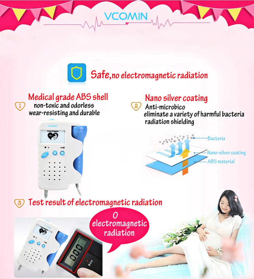 VCOMIN FD - 200A Fetal Doppler Fetal Heart Rate Detection Device for Home Office Supplies